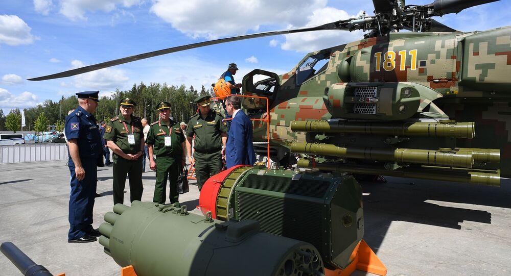 افتتاح المنتدى التقني العسكري أرميا 2019 في الحديقة العسكرية الوطنية باتريوت (مروحية مي-28 إن إ)