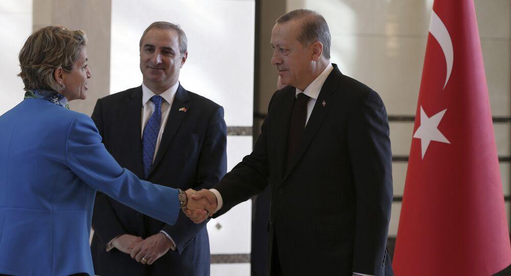 الرئيس التركي رجب طيب أردوغان يصافح القائم بالأعمال الإسرائيلي أميرة أورون بعد أن قدمت خطاب اعتمادها في أنقرة عام 2016