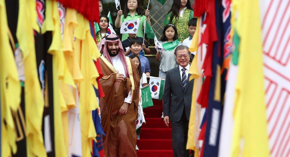 رئيس كوريا الجنوبية في استقبال ولي العهد السعودي محمد بن سلمان
