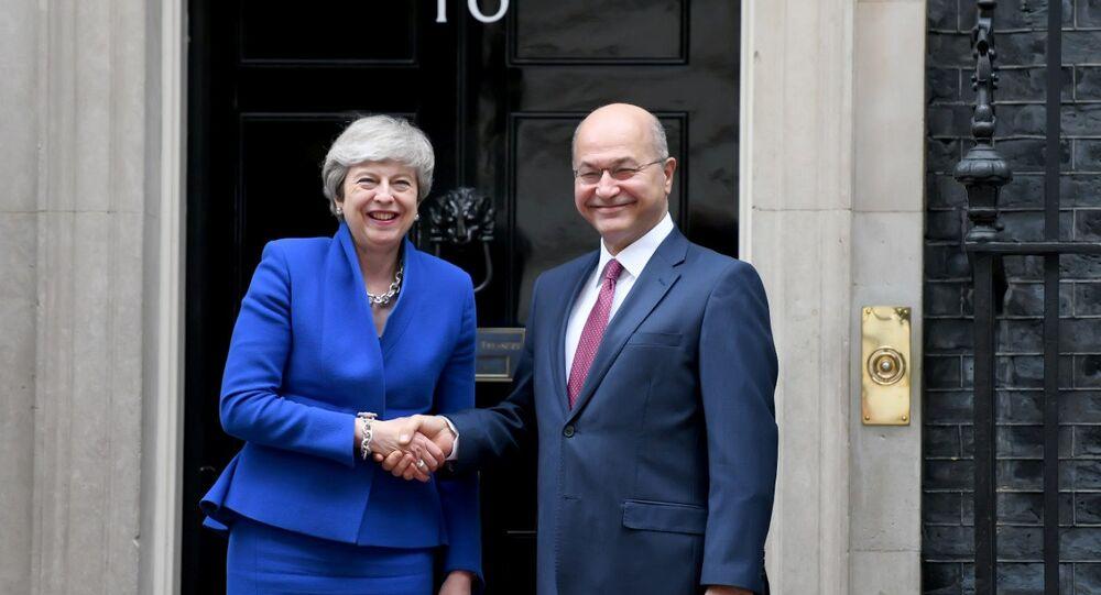 الرئيس العراقي برهم صالح ورئيسة الحكومة البريطانية تيريزا ماي