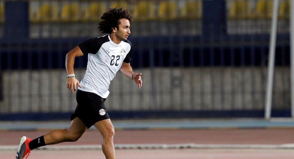 عمرو وردة في تدريبات منتخب مصر