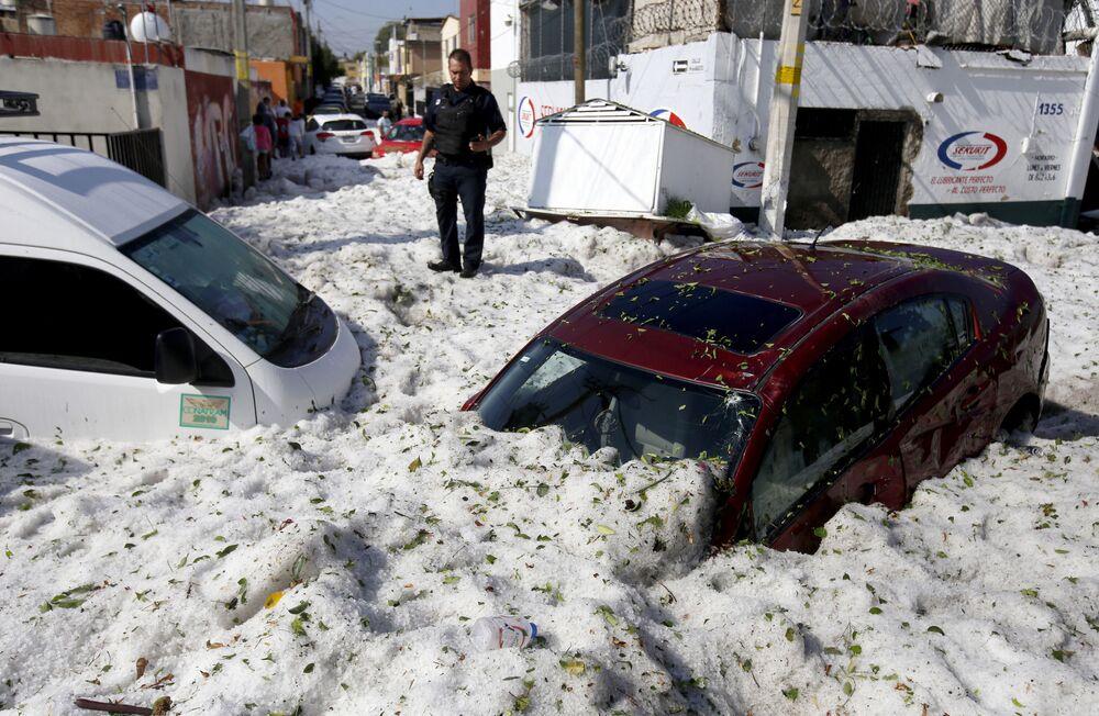 عواقب البرد القوي وسقوط ثلوج في غوادالاخارا، المكسيك 30 يونيو/ حزيران 2019