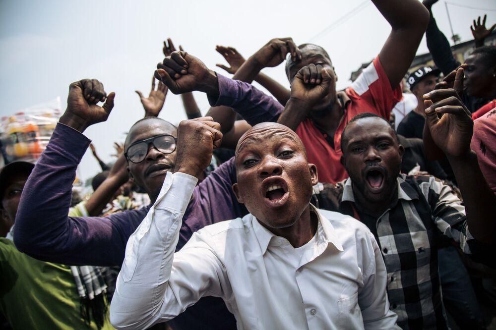المشاركون في احتجاجات في عاصمة الكونغو كينشاسا، الكونغو 30 يونيو/ حزيران 2019