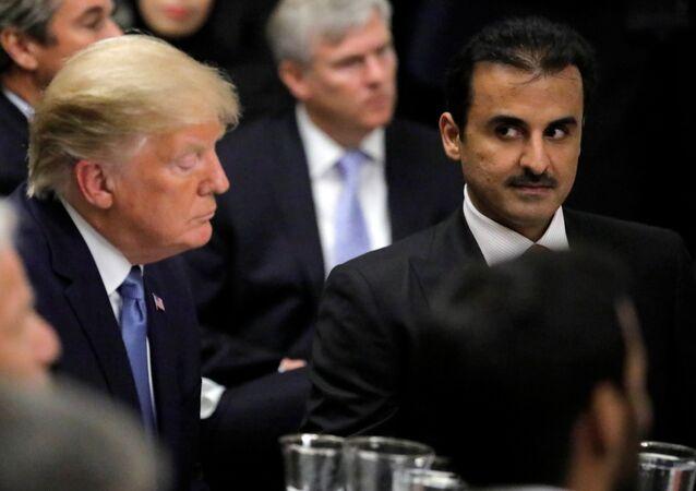 الرئيس الأمريكي دونالد ترامب مع أمير قطر تميم بن حمد آل ثاني