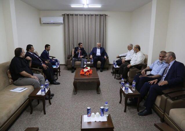 اجتماع حركة حماس بالوفد المصري في غزة