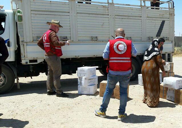 إغاثة الهلال الأحمر السوري تصل مركدة شرق الفرات