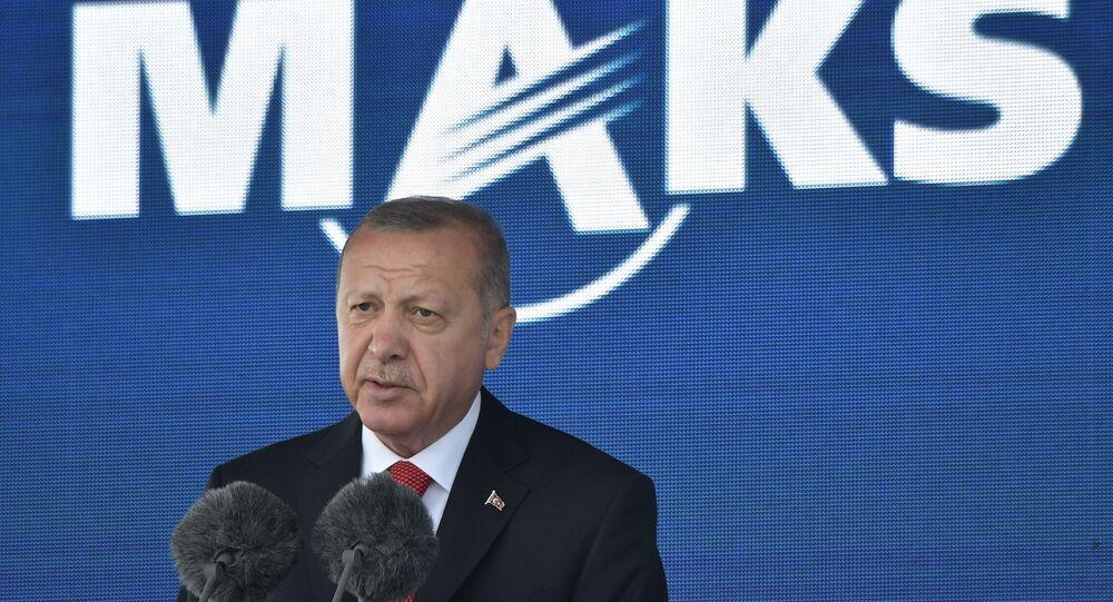 الرئيس التركي رجب طيب أردوغان في معرض ماكس 2019 للطيران الجوي في مطار جوكوفسكي في ضواحي موسكو، 27 أغسطس/ آب 2019