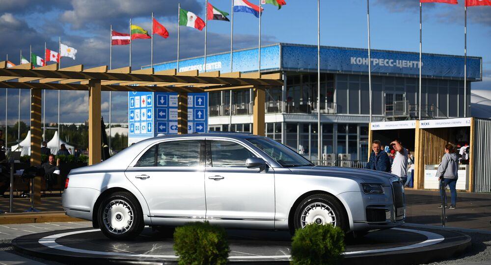 عرض سيارة أوروس سينات في معرض ماكس 2019 للطيران الجوي في مطار جوكوفسكي في ضواحي موسكو، 27 أغسطس/ آب 2019
