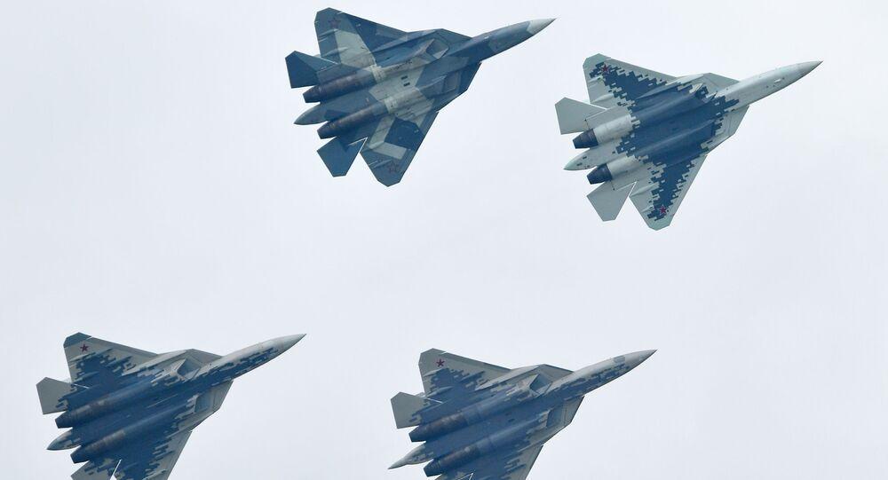مقاتلة سو-57 - معرض ماكس 2019 للطيران الجوي في مطار جوكوفسكي في ضواحي موسكو، 27 أغسطس/ آب 2019