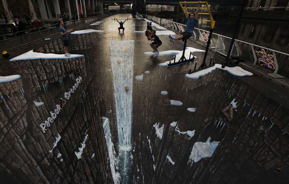 أكبر رسم ثلاثس الأبعاد يبلغ طوله 105 أمتار في لندن، عام 2011