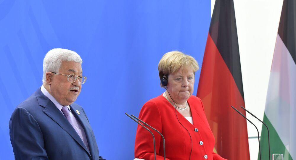 مؤتمر صحفي للمستشارة الألمانية أنجيلا ميركل والرئيس الفلسطيني محمود عباس في برلين، ألمانيا 29 أغسطس/ آب 2019