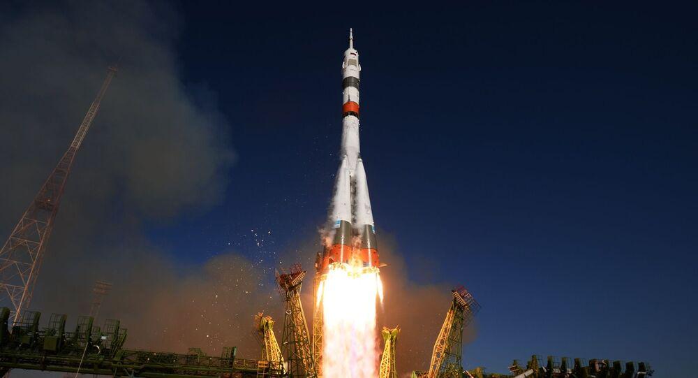 إطلاق صاروخ حامل Soyuz-2.1a مع مركبة الفضاء Soyuz MS-14 من منصة الإطلاق بايكونور