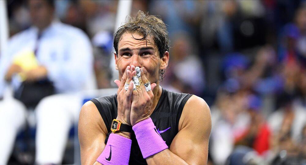 نادال يبكي بعد تحقيق لقب بطولة بطولة أمريكا المفتوحة للتنس