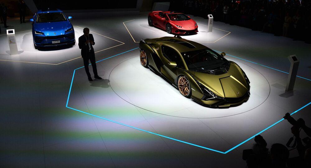 سيارة لامبورغيني (Lamborghini) في المعرض الدولي  للسيارات في فرانكفورت، ألمانيا 10 سبتمبر 2019