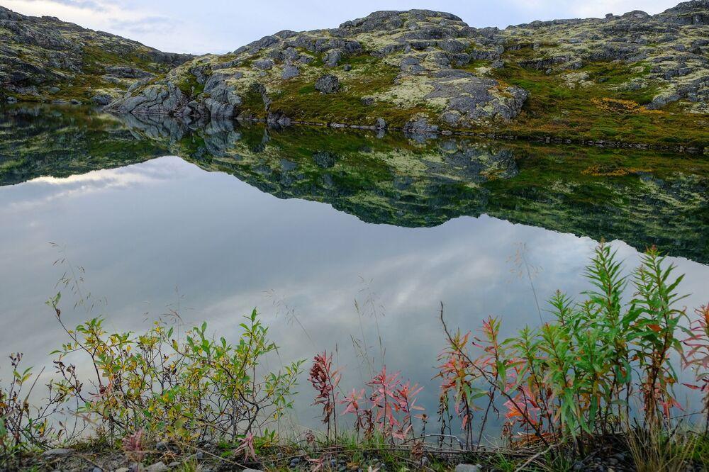 منظر يطل على الصخور في شبه جزيرة ريباتشي في منطقة مورمانسك الروسية
