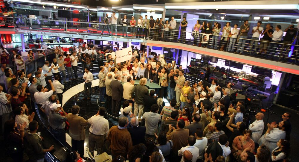 تجمع لصحفيي وإعلاميي تلفزيون المستقبل في ستوديو القناة في عام 2008