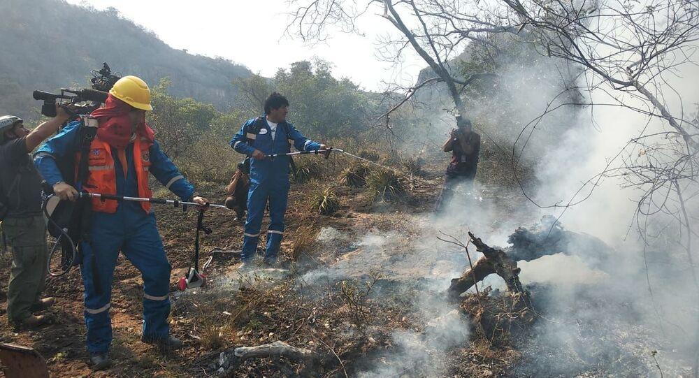 الرئيس البوليفي يساعد في إخماد الحرائق