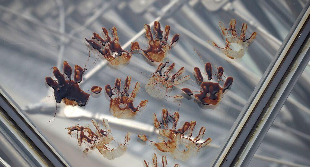 أيدي نشطاء يطبعون بصمات أيديهم الملطخة بالعسل على الهرم الزجاجي بمتحف اللوفر بالعاصمة الفرنسية باريس، 27 سبتمبر/أيلول 2019
