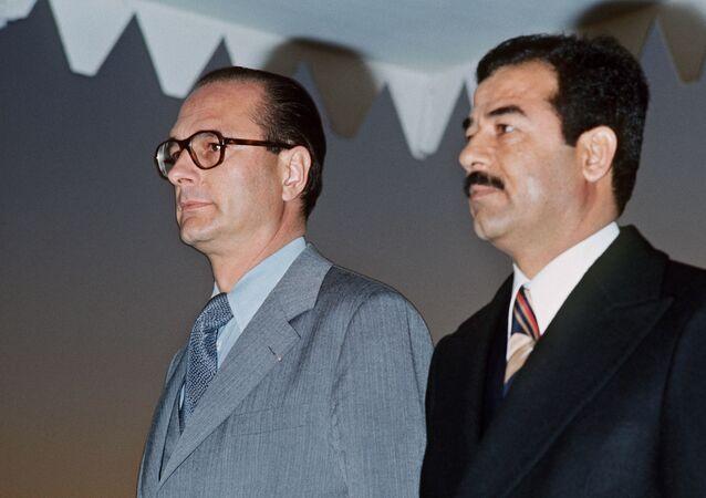 الرئيس الفرنسي الأسبق جاك شيراك و صدام حسين