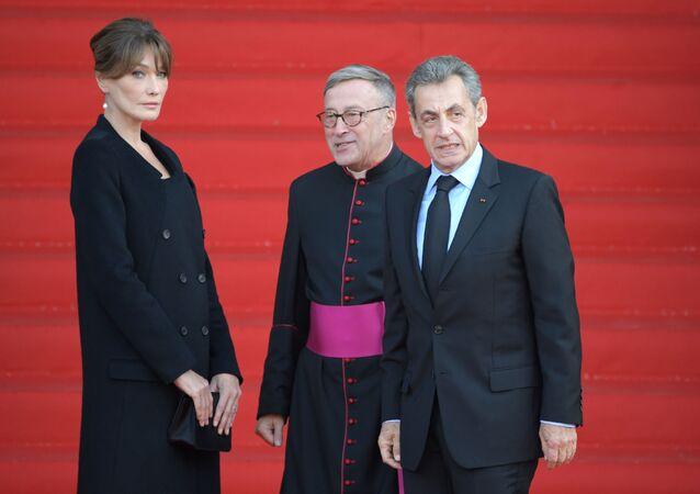 الرئيس الفرنسي السابق نيكولا ساركوزي في جنازة الرئيس الفرنسي الأسبق الراحل جاك شيراك في باريس، فرنسا 30 سبتمبر 2019