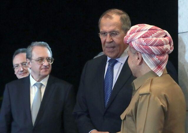 وزير الخارجية الروسي، سيرغي لافروف، يلتقي الرئيس السابق لإقليم كردستان العراق مسعود برزاني