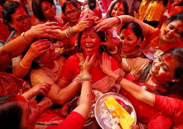 مهرجان الإلهة الهندوسية دروغا بوجا في تشانديغاره، الهند 8 أكتوبر 2019