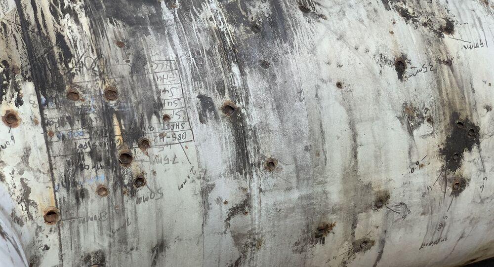 صورة لمنشأة خريص للنفط لشركة أرامكو السعودية بعد تعرضه للهجوم في 14 سبتمبر 2019