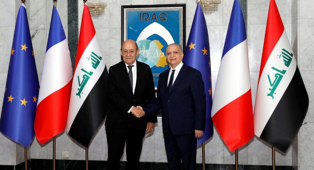 وزير الخارجية الفرنسي، جان إيف لو دريان، مع وزير الخارجية العراقي محمد علي الحكيم