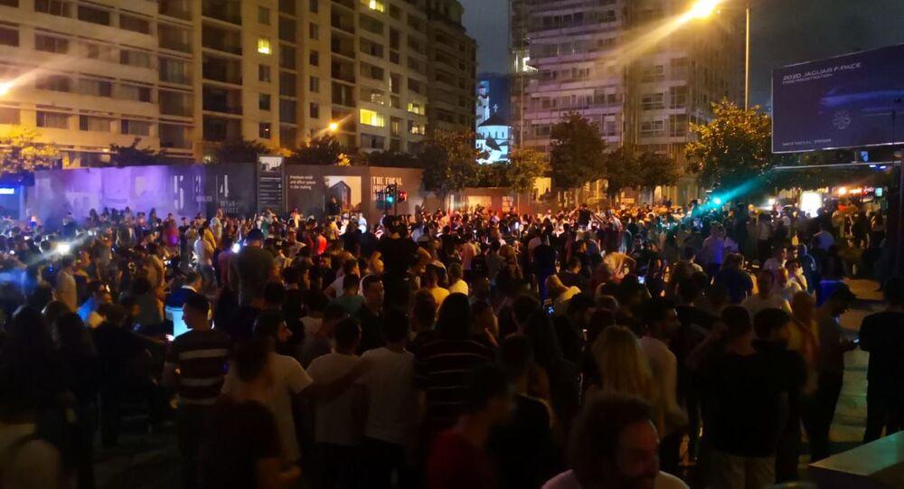 مظاهرات في وسط بيروت في لبنان