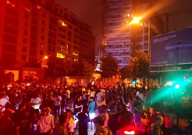 تظاهرات في وسط بيروت في لبنان