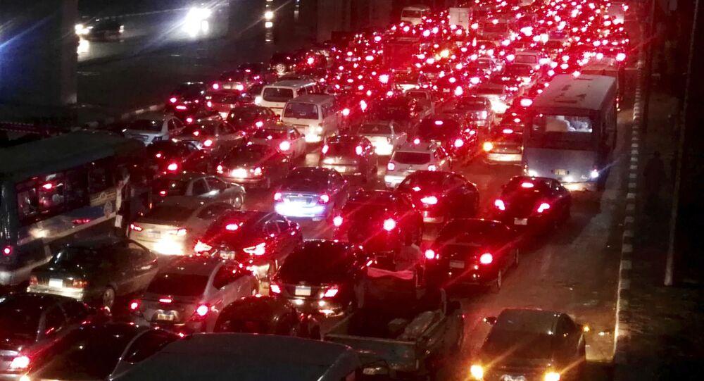 زحام مروري في شوارع القاهرة بسبب موجة الأمطار الغزيرة
