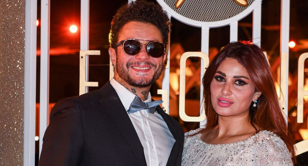 الفنان المصري أحمد الفيشاوي وزوجته ندي الكامل في مهرجان الجونة السينمائي 2019