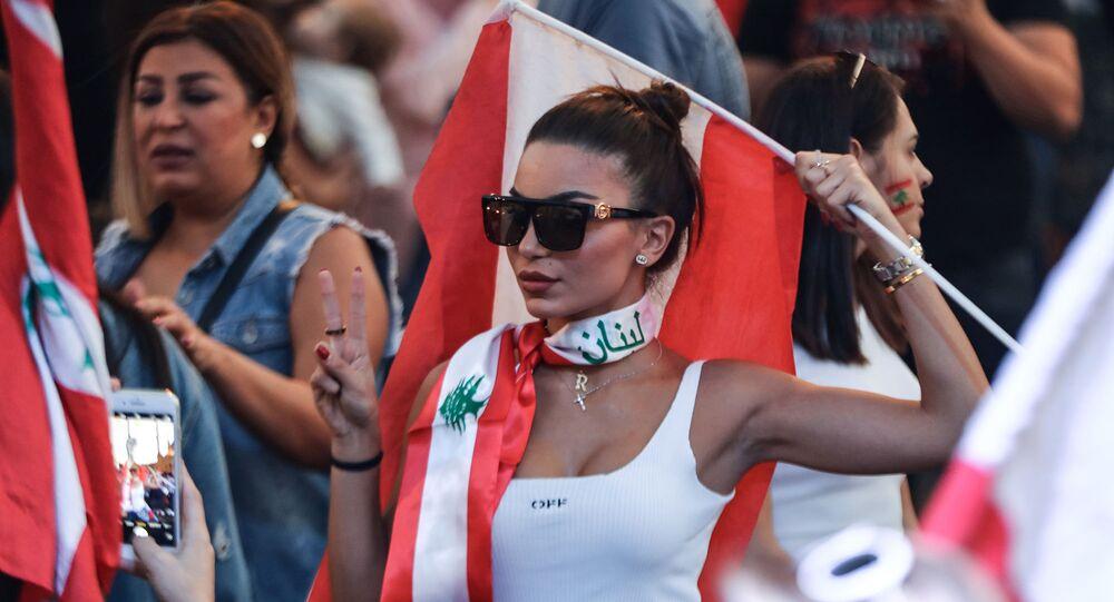 مظاهرات مناهضة للحكومة للبنانية في بيروت، لبنان 27 أكتوبر 2019