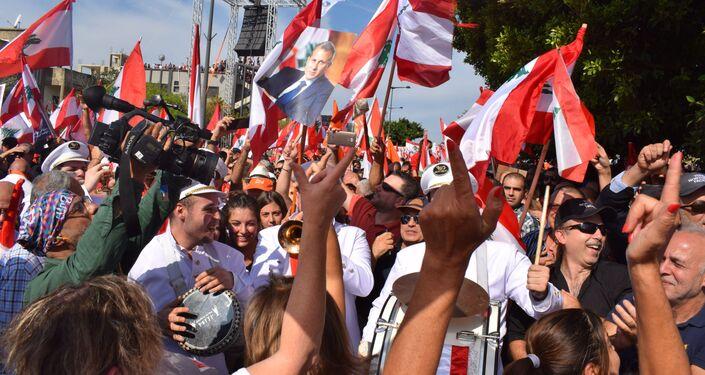 تظاهرة حاشدة دعماً للرئيس اللبناني ميشال عون