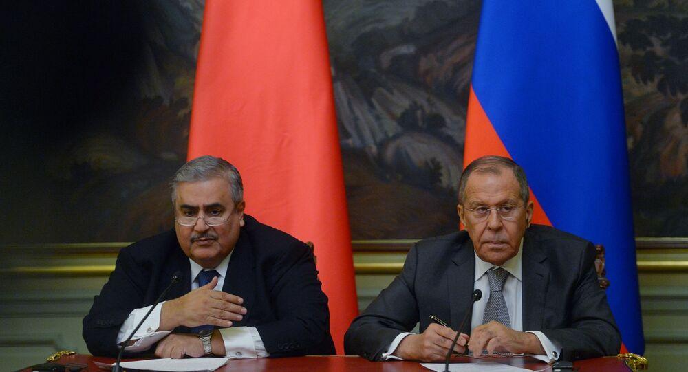 سيرغي لافروف  مع وزير الخارجية البحريني الشيخ خالد بن أحمد بن محمد آل خليفة