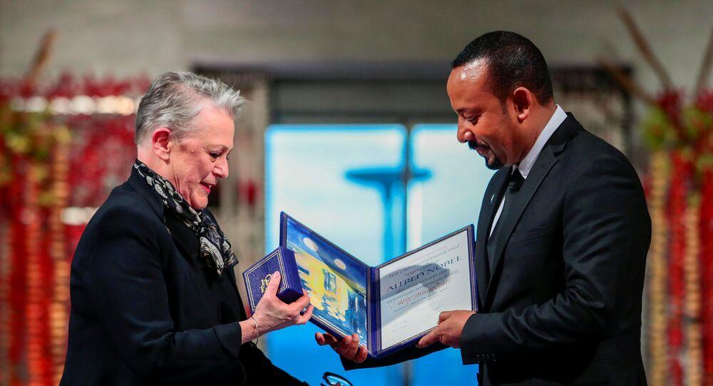 رئيس الوزراء الإثيوبي أبي أحمد يتسلم جائزة نوبل للسلام، النرويج، 10 ديسمبر/ كانون الأول 2019