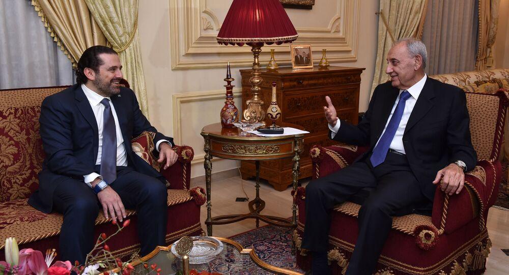 رئيس مجلس النواب اللبناني نبيه بري ورئيس حكومة تصريف الأعمال سعد الحريري