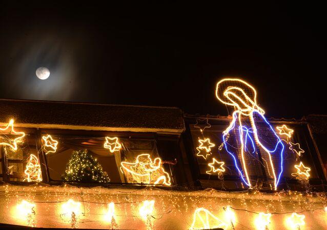 زينة أعياد الميلاد ورأس السنة في دمشق، سوريا 17 ديسمبر 2019