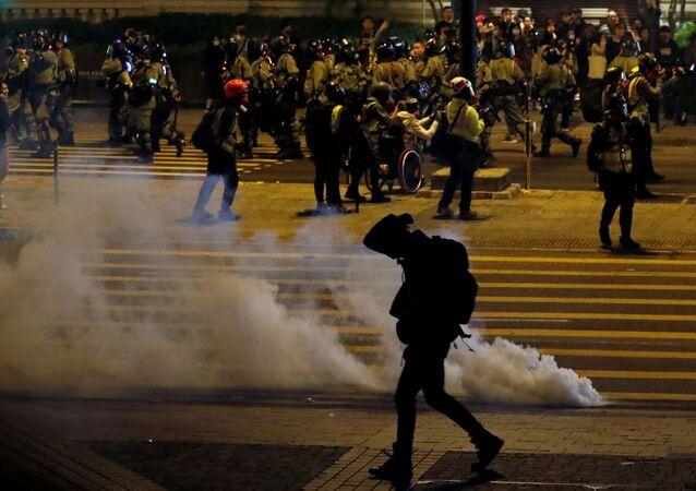 مظاهرة مناهضة للحكومة عشية عيد الميلاد في هونغ كونغ، الصين 24 ديسمبر 2019