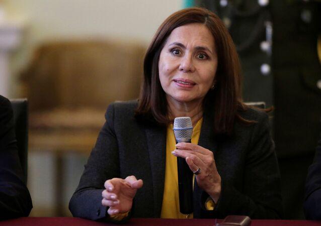 وزيرة خارجية بوليفيا، تتحدث خلال مؤتمر صحفي في لاباز