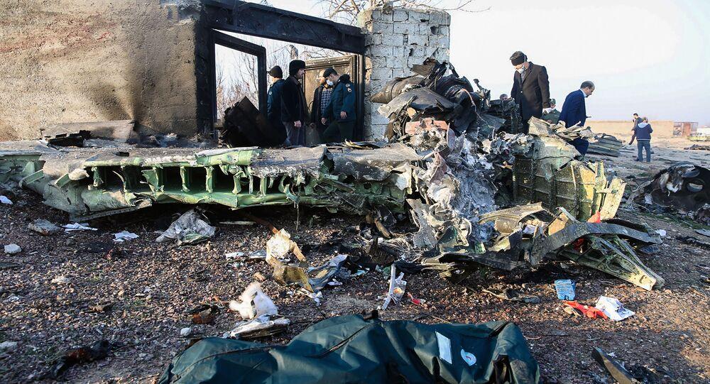 الطائرة الأوكرانية المنكوبة بعد سقوطها في إيران