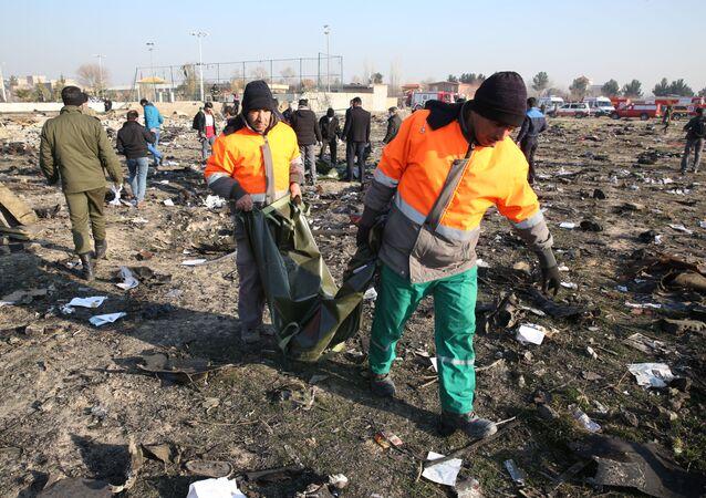 حطام الطائرة المنكوبة من طراز بوينغ 737 في طهران، إيران 8 يناير 2020