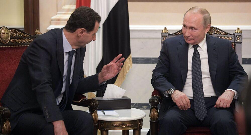 الرئيس الروسي  فلاديمير بوتين والرئيس السوري بشار الأسد خلال اللقاء في دمشق، سوريا 7 يناير 2020