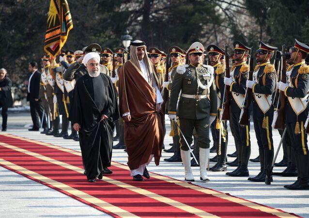 الرئيس الإيراني حسن روحاني يستقبل أمير قطر الشيخ تميم بن حمد في طهران
