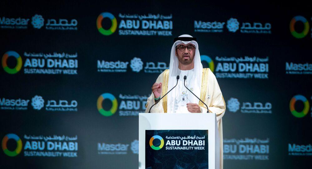 أسبوع أبوظبي للاستدامة 2020، 13 يناير 2020 - سلطان أحمد الجابر، وزير دولة الإمارات العربية المتحدة والرئيس التنفيذي لمجموعة أبو ظبي الوطنية للنفط (أدنوك)