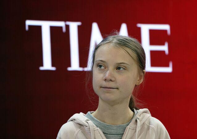 الناشطة البيئية السويدية غريتا تونبرغ في منتدى دافوس بسويسرا، 21 يناير/ كانون الثاني 2020
