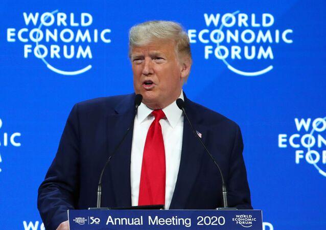 الرئيس الأمريكي دونالد ترامب في منتدى دافوس بسويسرا، 21 يناير/ كانون الثاني 2020