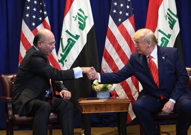 الرئيس الأمريكي دونالد ترامب يستقبل الرئيس العراقي برهم صالح في نيويورك