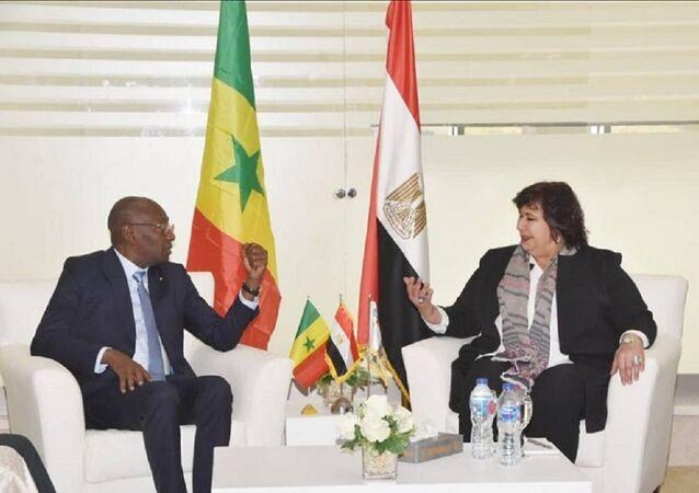 وزيرة الثقافة المصرية، إيناس عبد الدايم في لقاء مع وزير الثقافة السنغالي، 22 يناير 2020