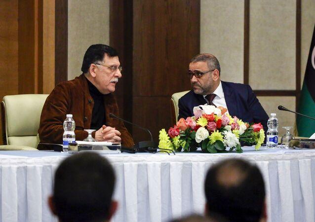رئيس المجلس الرئاسي لحكومة الوفاق الوطني فائز السراج مع رئيس المجلس الأعلى للدولة الليبي خالد المشري